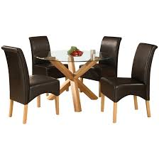 solid oak glass round dining table and 4 leather chair