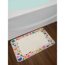 doodle style colorful cheerful frame design on notebook page style backdrop bath rug