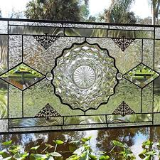 vintage stained glass plate panel depression glass fostoria american window valance by lin glore