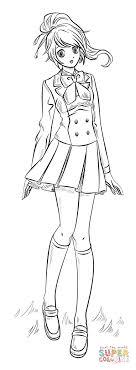 Anime Girl Coloring Page Free Printable Coloring Pages Manga Girl