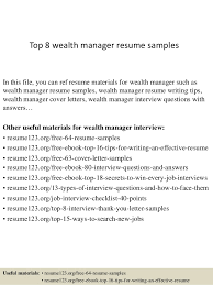 Resume Samples For Best Of Top 24 Wealth Manager Resume Samples
