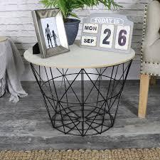 tables black metal wire basket wooden