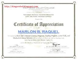 Certificate Of Appreciation Verbiage Wording Examples Attendance