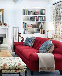 red sofa living room