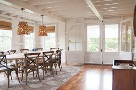 transitional dining room furniture dining room beach style with open concept beige patterned rug wood floor