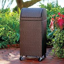 outdoor trash can. Resin Wicker Outdoor Trash Can/Hamper Can D
