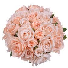 2 Pack <b>Artificial</b> Flowers <b>Rose Bouquet Fake</b> Flowers <b>Silk</b> Plastic ...