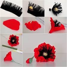 Make A Paper Poppy Flower How To Make Red Chocolate Poppy Flower Bouquet Diy Tutorials