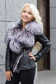 short leather jacket with fur collar genuine fox fur 21