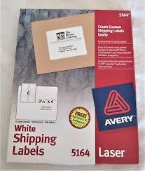 Avery 5164 Labels Avery 5164 White Laser Shipping Labels 3 1 3 X 4 540