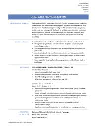 Home Care Provider Resume Updated Child Care Resume Sample