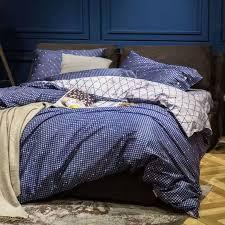 details about blue polka dot quilt duvet cover bedding set white grid bed sheet queen king