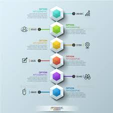 Organization Chart Psd Template Six Multicolored Hexagons Timeline Infographic Template