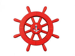 red decorative ship wheel with anchor 12