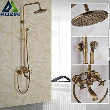 luxury shower set faucet dual handle bathroom rainfall shower mixer tap wall mounted 8 brass rain shower head