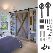 6 6 ft sliding barn door hardware roller track rail kit closet country style