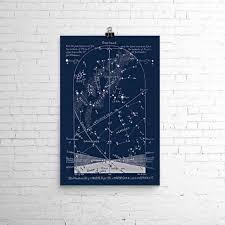 October Astronomy Art Print Star Map Sky Chart Birthday Or Anniversary Gift
