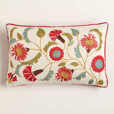 red suzani embroidered lumbar pillow world market with decorative pillows for chairs and 31586 x v1