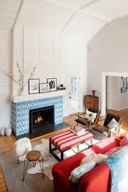 Living Room With Red Sofa Living Room Brown Wooden Floor Red Sofa Tiled Fireplace Mantel