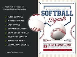 Baseball Brochure Template Softball Tryouts Flyer Template Brochure Templates