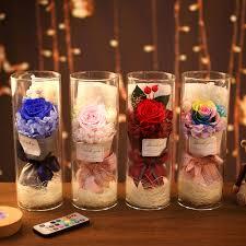 Rainbow Rose Night Light Valentines Day Gift Romantic Decoration Light Dried Flower Eternal Flower