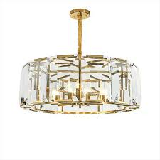 post modern nordic clear gold black drum crystal pendant light for hotel living room bedroom restaurant