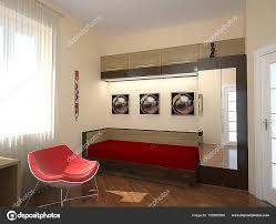 Schlafzimmer Der 70er Jahre Retro Stil Eingerichtet 3d Render