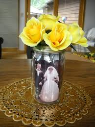 Decorating Mason Jars 50th Wedding Anniversary Table Centerpieces Mason Jar With Photos