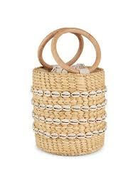 Poolside The Bobbi Straw Shell-Embellished Bucket Bag on SALE ...