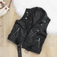 2019 vintage cool women faux leather vest zipper jacket punk sleeveless black biker jackets waistcoat female zipper short coat 2018 from dennicome