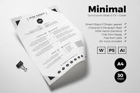 Minimal Curriculum Vitae Resume Templates Creative Market