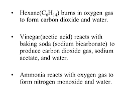 hexane c6h14 burns in oxygen gas to form carbon dioxide and water