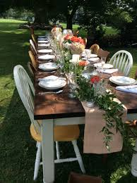 farm table and chairs outdoors
