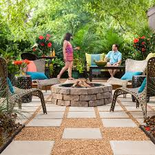 outdoor space paver patio with fire pit furniture