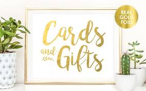 cards and gifts peony theme wedding signs in real gold or silver foil reception signs gift table signs