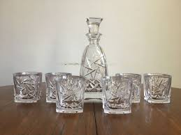 very heavy cut crystal whiskey decanter set