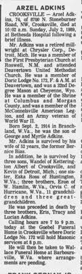 Obituary for ARZEL ADKINS, 1914-1989 (Aged 74) - Newspapers.com