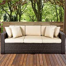 Patio furniture Vintage Amazoncom Best Choice Products 3seat Outdoor Wicker Sofa Couch Patio Furniture Wsteel Frame And Removable Cushions Brown Garden Outdoor Grandin Road Amazoncom Best Choice Products 3seat Outdoor Wicker Sofa Couch