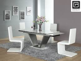 splendid white rectangle gl dining room tables with v shaped leern white s shaped dining chairs for unique dining room furniture dining room