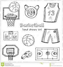 баскетбол нарисованный рукой комплект Doodle эскизы иллюстрация