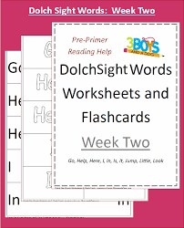 Dolch Sight Words Worksheets: Week Two – 3 Boys and a Dog