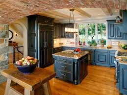 Red Brick Flooring Kitchen French Country Brick Kitchen Design With Compact Island And Cherry