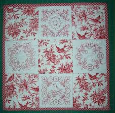 25 best Quilts - Toile fabrics images on Pinterest | Canvas, Board ... & Redwork & toile quilt - this would be fun with embroideries from Urban  Threads' Toile Noir set Adamdwight.com