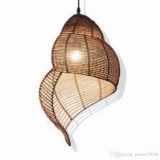 rattan conch bamboo weaving led pendant lamps black pendant light hanging lamp restaurant coffee bar home lighting master g037 globe pendant light light
