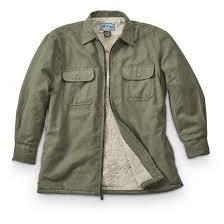 men s fleece lined full zip chamois shirt olive tan