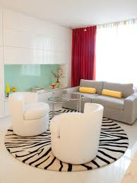 luxury round area rugs with black and white color for small living room design ideas using small glass table