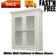 wall cabinet 2 door wood glass doors