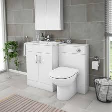 turin high gloss white vanity unit bathroom suite w1100 x d400 200mm