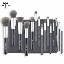 ihambing ang pinakabagong anmor 15 pcs professional makeup brushes set grey brown foundation powder eyeshadow make up brushes soft synthetic hair