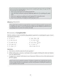 Grade 9: Mathematics Unit 1 Quadratic Equations and Inequalities.